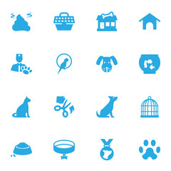 Set Of 16 Pets Icons Set.Collection Of Home , Veterinarian, Neckband Elements.
