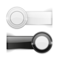 Shiny black and white stickers with transparent shadow. Design template element