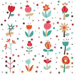 Cute Flowers Set Vector Collection