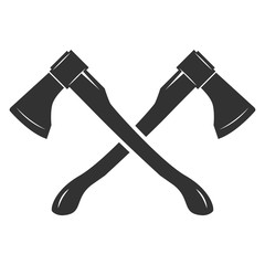 Crossed axes isolated on white background. Vector illustration