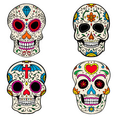 Set of the sugar skulls isolated on white background. Dia de los Muertos. Day of the Dead. Vector illustration