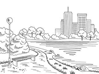 Park lake graphic black white bench lamp landscape sketch illustration vector