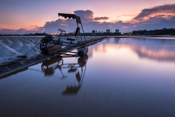salt fields at sunset