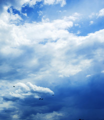 Blue sky with clouds photo. Beautiful picture, background, wallpaper