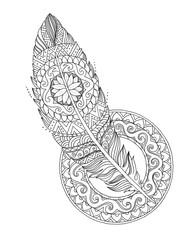 Feather in patterns and ornaments, mandala, tattoo