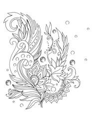 Beautiful ornamental twigs, lace pattern, tattoo