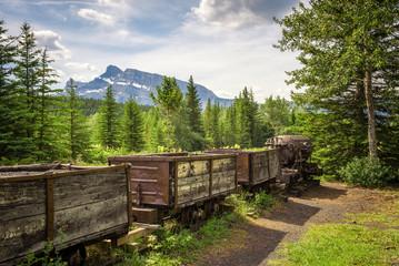 Coal mine train in the ghost town of Bankhead near Banff, Canada
