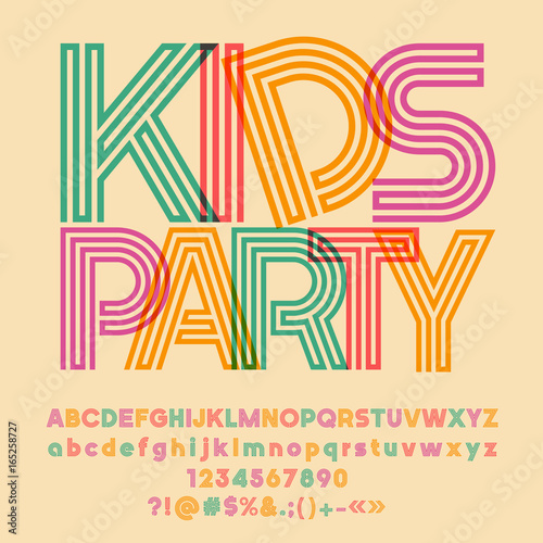 Bright logo with text Kids Party  Vector set of colorful