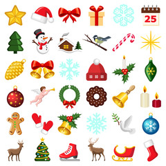 Christmas and winter icon collection - vector color illustration