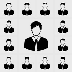 business man in black suit icons vector set