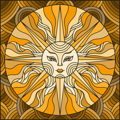 Illustration in the style of a stained glass window abstract sun,brown tone,sepia