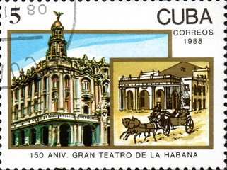 UKRAINE - CIRCA 2017: A postage stamp printed in Cuba shows 150th Anniv of Grand Theatre from series Anniversary, circa 1988