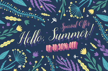 Summer Sale. Colorful banner with floral elements. Vector illustration.