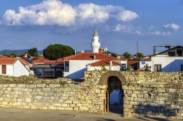 Sigacik, Turkey - June 20, 2017 : Sigacik city view from castle. Sigacik is small historical village in Izmir.