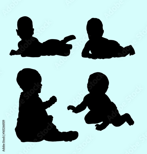 Baby Relax And Playing Silhouette Good Use For Symbol Logo Web