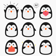 cute penguin emojis vector collection with different expressions