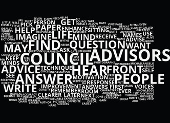 THE COUNCIL OF ADVISORS Text Background Word Cloud Concept