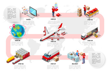 International trade logistics network infographic vector illustration with isometric vehicles for cargo transport. Flat 3D Sea freight, road freight and air freight shipping on-time delivery