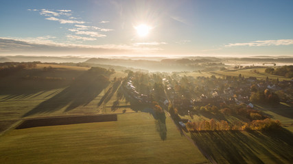 Sonnenaufgang über Ochsenwang auf der Schwäbischen Alb