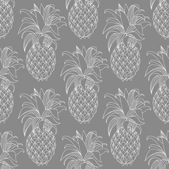 Pineapples. Contour pattern on a gray background. Vector seamless pattern