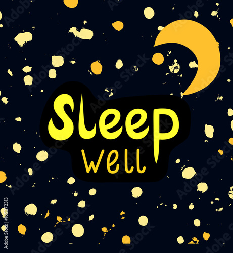 Sleep Well, A Wish Of Good Night. Sweet Dreams Card Decorated With Abstract  Shiny