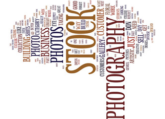 THE BUSINESS OF STOCK PHOTOGRAPHY Text Background Word Cloud Concept