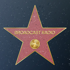 Hollywood Walk Of Fame. Vector Star Illustration. Famous Sidewalk Boulevard. Radio Microphone Representing Broadcast Radio. Public Monument To Achievement