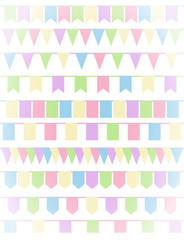 Vertical greeting card with set of cartoon flag garlands isolated on white background.