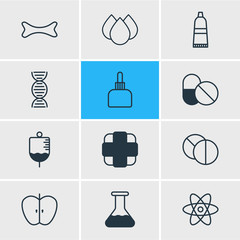Vector Illustration Of 12 Health Icons. Editable Pack Of Antibiotic, Pharmaceutical, Genome And Other Elements.