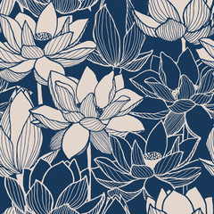 seamless vector floral lotus blue hand drawn pattern