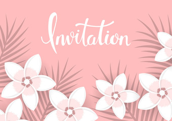 floral background with tropical plumeria flowers  and palm leaves