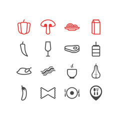 Vector Illustration Of 16 Meal Icons. Editable Pack Of Aubergine, Chili, Macaroni And Other Elements.