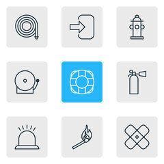 Vector Illustration Of 9 Emergency Icons. Editable Pack Of Lifesaver, Door, Alarm And Other Elements.