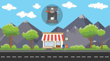 coffee machine store business on beside street with mountain view as background