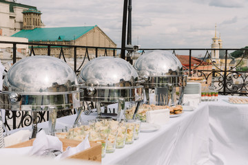 Restaurant catering service for wedding ceremony on the roof