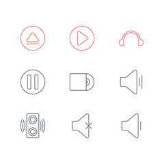Vector Illustration Of 9 Melody Icons. Editable Pack Of Soundless, Start, Audio And Other Elements.
