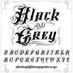 Black and Grey tattoo font set