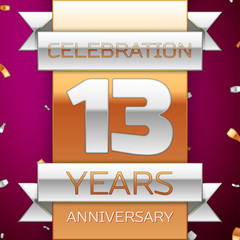 Realistic Thirteen Years Anniversary Celebration Design. Silver and golden ribbon, confetti on purple background. Colorful Vector template elements for your birthday party. Anniversary ribbon
