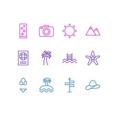 Vector Illustration Of 12 Season Icons. Editable Pack Of Guide, Sunny, Cocktail And Other Elements.