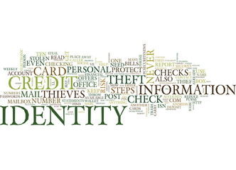 TEN STEPS TO REDUCE YOUR RISK OF IDENTITY THEFT Text Background Word Cloud Concept