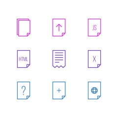 Vector Illustration Of 9 File Icons. Editable Pack Of Question, Internet, Folder And Other Elements.