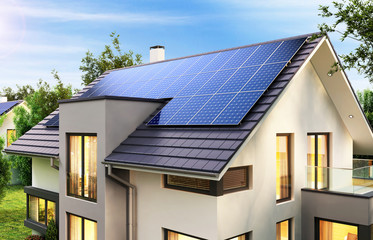 Solar panels on a modern house