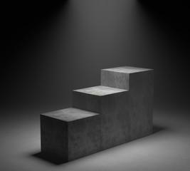 Empty concrete podium on spotlight background. 3D rendering.