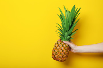 Female hand holding ripe pineapple on yellow background