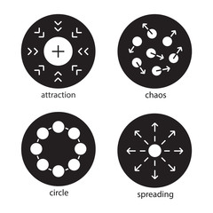 Abstract symbols glyph icons set