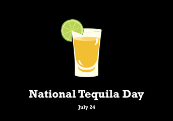 National Tequila Day vector. Tequila with lime on a black background