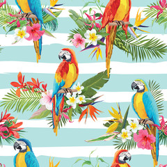 Tropical Flowers and Parrot Birds Seamless Background. Retro Summer Pattern in Vector