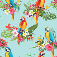 Canvas Prints Parrot Tropical Flowers and Parrot Birds Seamless Background. Retro Summer Pattern in Vector