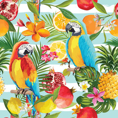 Fotorolgordijn Papegaai Seamless Tropical Fruits and Parrot Pattern in Vector. Pomegranate, Lemon, Orange Flowers, Leaves and Fruits Background.