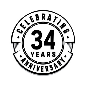34 years anniversary logo template. Vector and illustration.